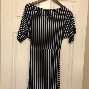 SHEIN striped long overlap dress